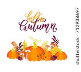 vector autumn greeting card... | Shutterstock .eps vector #712938697