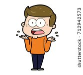 cartoon shocked man | Shutterstock .eps vector #712942573