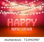 shine garland. greeting new... | Shutterstock .eps vector #712942987