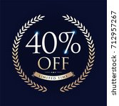40  off circle sign icon.... | Shutterstock .eps vector #712957267