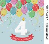 happy birthday anniversary... | Shutterstock .eps vector #712973107