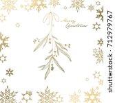 handwritten christmas... | Shutterstock .eps vector #712979767