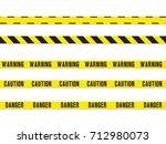 warning yellow tape. vector... | Shutterstock .eps vector #712980073