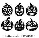 halloween pumpkin vector desgin ... | Shutterstock .eps vector #712981897