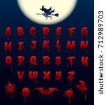 bloody alphabet on black... | Shutterstock .eps vector #712989703