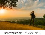 traveler woman with backpack... | Shutterstock . vector #712991443