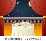 romantic evening night love... | Shutterstock .eps vector #712994377