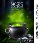 magic potion background with...   Shutterstock .eps vector #712999453
