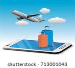 online travel with smartphone | Shutterstock .eps vector #713001043