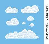 clouds shapes set. pixel art 8...