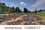 concrete pile stake at... | Shutterstock . vector #713005717