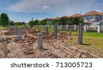 concrete pile stake at... | Shutterstock . vector #713005723