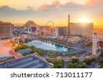 aerial view of las vegas strip... | Shutterstock . vector #713011177