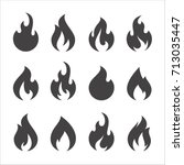 fire flames  set vector icons | Shutterstock .eps vector #713035447