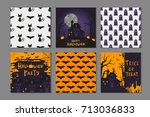 collection of 6 happy halloween ... | Shutterstock .eps vector #713036833