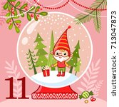 vector christmas advent... | Shutterstock .eps vector #713047873