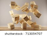 many moving boxes floating and... | Shutterstock . vector #713054707
