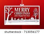 marry christmas horisontal... | Shutterstock .eps vector #713056177