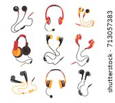 colorful headphones and...