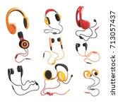 headphones and earphones set ... | Shutterstock .eps vector #713057437