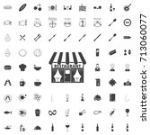 restaurant black icon on the... | Shutterstock .eps vector #713060077