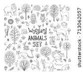 vector doodles woodland animals ... | Shutterstock .eps vector #713062057