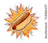 hot dog vector isolated... | Shutterstock .eps vector #713066197
