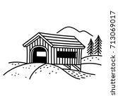 covered bridge line art... | Shutterstock .eps vector #713069017