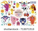 cute farm animals on a white... | Shutterstock .eps vector #713071513