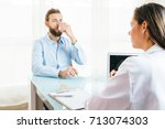 male patient is inhaling a... | Shutterstock . vector #713074303