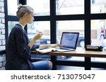 attractive blonde female... | Shutterstock . vector #713075047