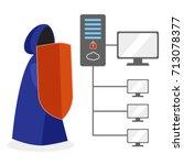 hacker defender in blue hooded... | Shutterstock .eps vector #713078377