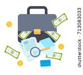 briefcase with money  signed... | Shutterstock .eps vector #713083033