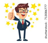 happy businessman standing and... | Shutterstock .eps vector #713086777