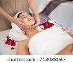 masseur doing massage on woman... | Shutterstock . vector #713088067
