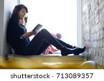 young good looking hipster girl ...   Shutterstock . vector #713089357