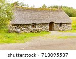 Small photo of Newtonmore - August 2014: This rural house is located in the Heritage site of highland folk museum in scotland and in its interiors the tourist can see a reconstruction of ancient scottish rural life