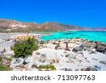 tropical sandy beach with...   Shutterstock . vector #713097763