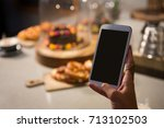 close up of woman using mobile... | Shutterstock . vector #713102503