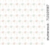 seamless baby pattern with cute ... | Shutterstock . vector #713105587