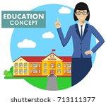 education concept. detailed... | Shutterstock .eps vector #713111377