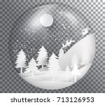 xmas and happy new year glass... | Shutterstock .eps vector #713126953