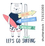 surfer bear and direction sign... | Shutterstock .eps vector #713131003