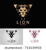 lion logo. three versions.... | Shutterstock .eps vector #713134933