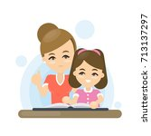 mother teaches lesson to... | Shutterstock .eps vector #713137297