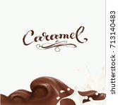 liquid chocolate  caramel or... | Shutterstock .eps vector #713140483