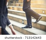 close up legs of businessman... | Shutterstock . vector #713142643