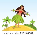 hawaiian hula dancer young... | Shutterstock .eps vector #713148307