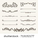 vector set of decorative... | Shutterstock .eps vector #713152177