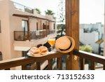 tasty sandwich and juice... | Shutterstock . vector #713152633